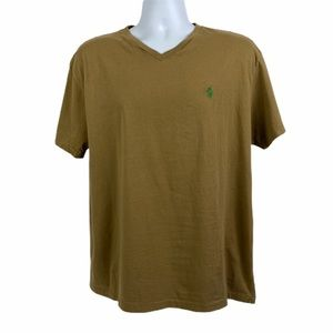 POLO RALPH LAUREN Tan Short Sleeve V-Neck Tee M